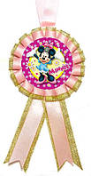 """Медаль детская """"Мини Маус"""". Диаметр с бантом: 85 мм."""