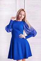 Платье коктейльное Шифоновый рукав электрик