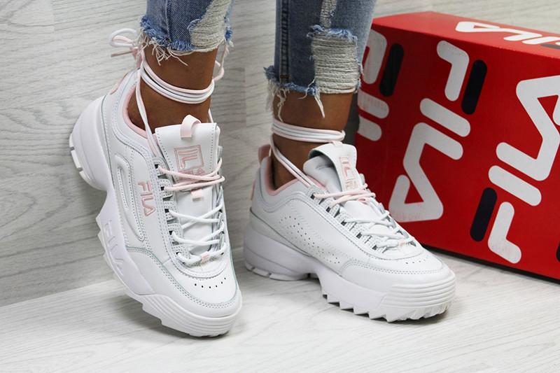4a07fbe19494 Фила дисраптор 2 кроссовки женские кожаные белые розовые (реплика) Fila  Disruptor II White Pink