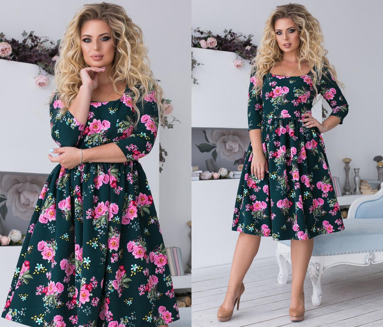 Платье больших размеров с расклешенной юбкой, цветочный принт / 4  цвета  арт 6379-93