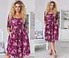 Платье больших размеров с расклешенной юбкой, цветочный принт / 4  цвета  арт 6379-93, фото 8
