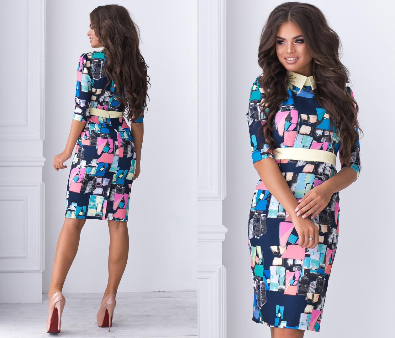 Облегающее платье с рубашечным воротником, ярким принт арт 6381-93