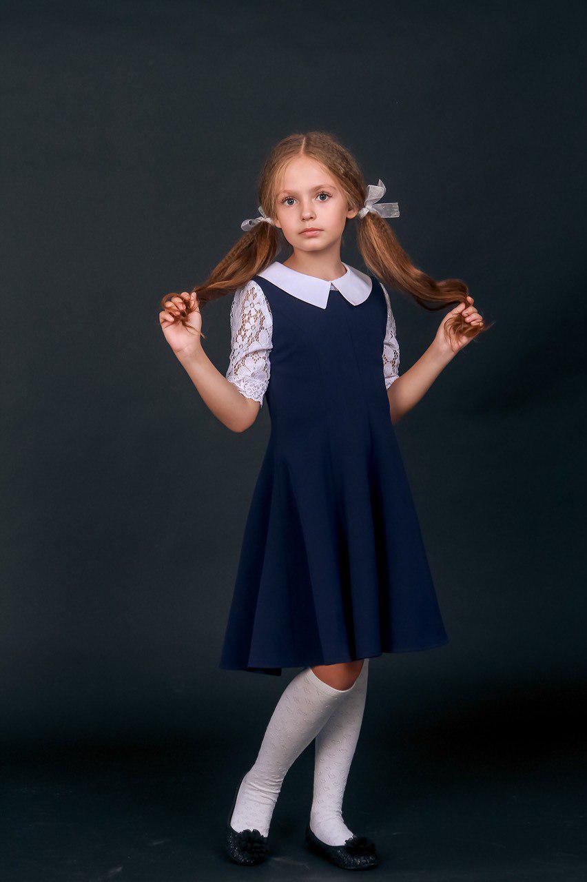 d7254b39384 Школьный сарафан с ажурной блузкой