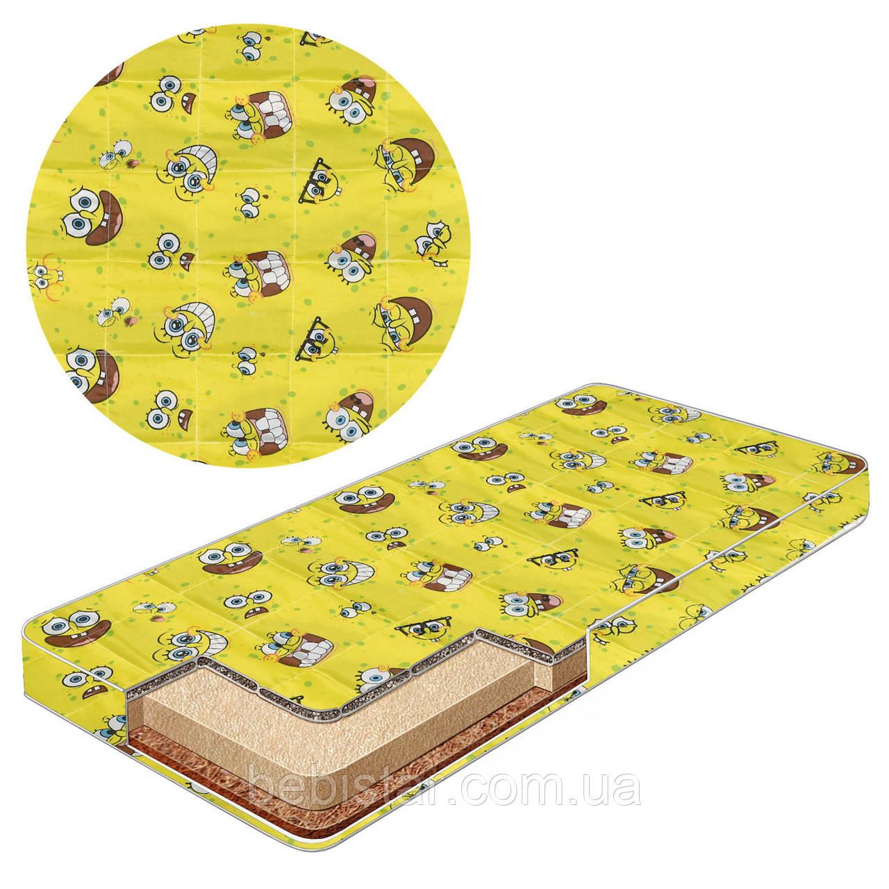 Детский матрас желтый Спанч Боб гречневая лузга, пенополиуретан, кокосовый мат