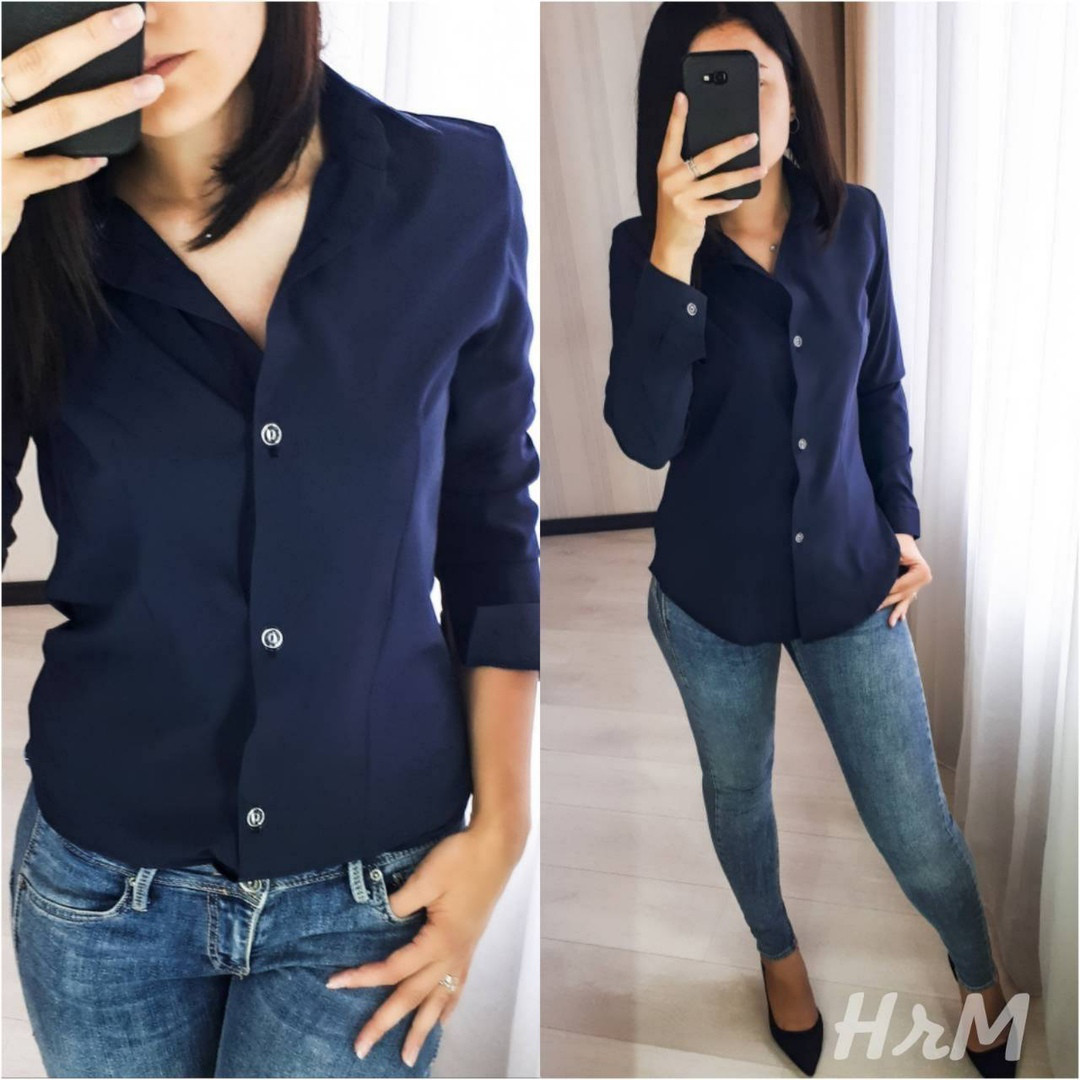 Женская классическая рубашка на пуговицах с длинным рукавом  /3 цвета арт 6394-515