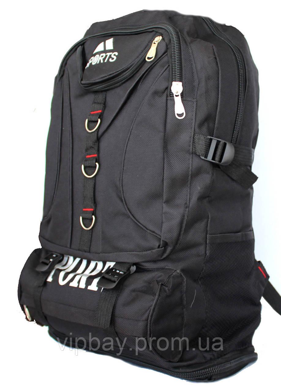 Чоловічий стильний місткий рюкзак чорного кольору (50315н)