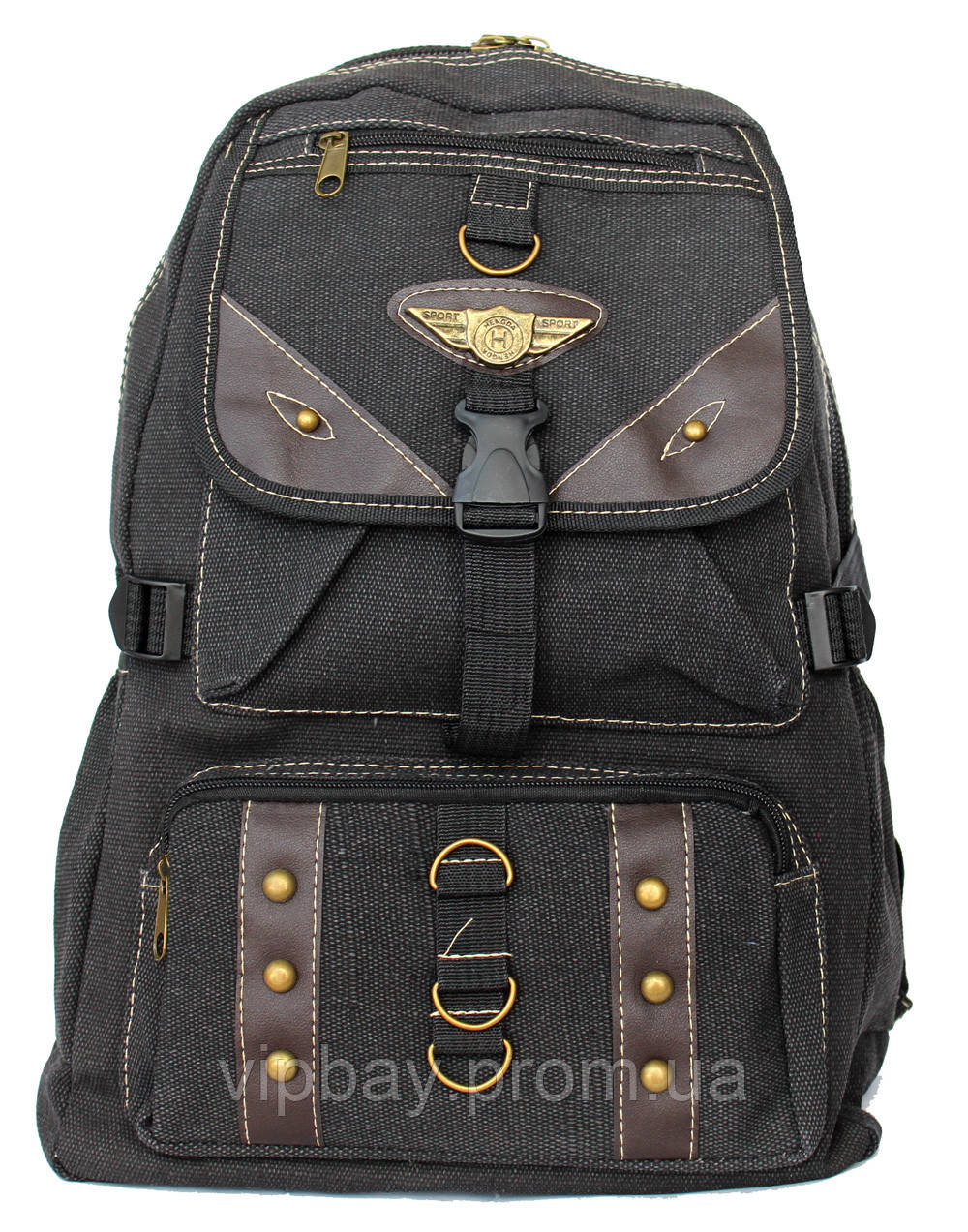 Тканевый спортивный прочный рюкзак черного цвета (9190ч)