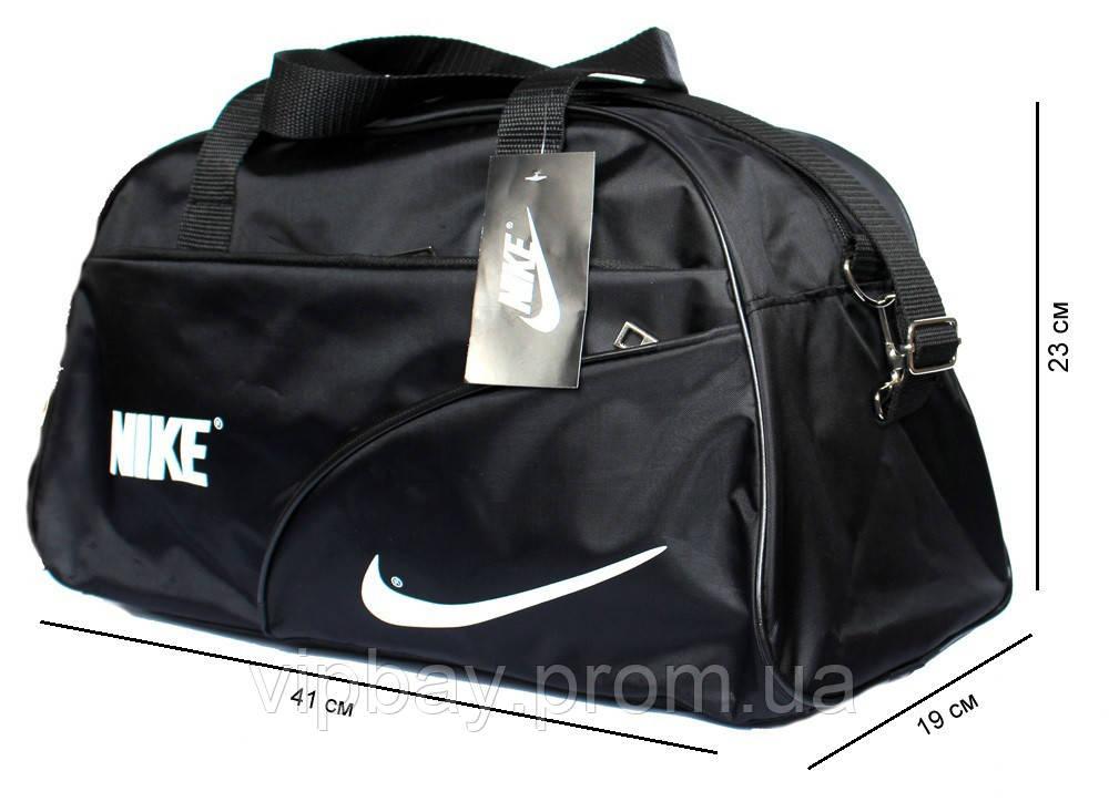 Спортивна чоловіча сумка чорного кольору в стилі Nike (052-ч)