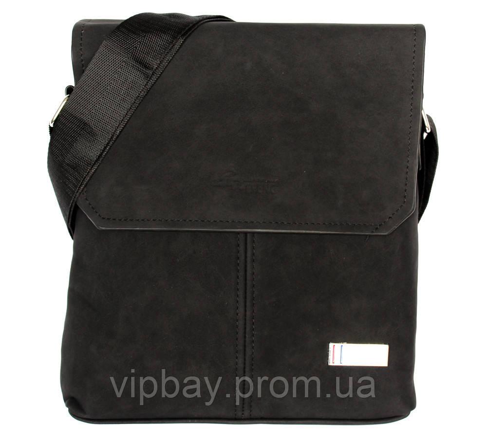 Стильная мужская сумка через плечо черная (54272)