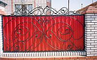 Кованый забор из профнастилом, код: А-0113