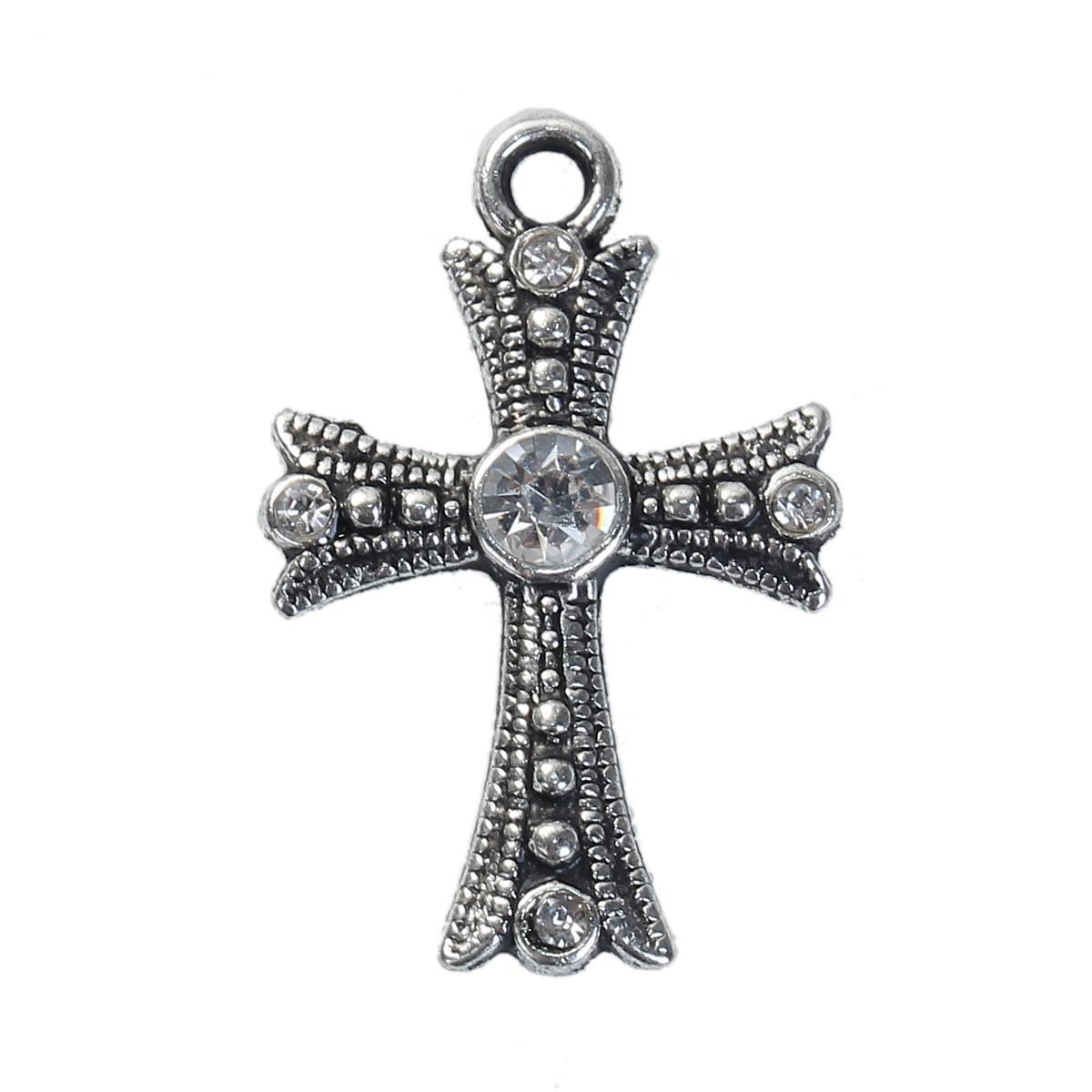 Подвеска Крест, Цинковый сплав, Античное серебро, Прозрачные стразы, 26 мм x 17 мм