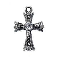 Подвеска Крест, Цинковый сплав, Античное серебро, Прозрачные стразы, 26 мм x 17 мм, фото 1