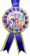 """Медаль детская """"Little Pony"""". Диаметр с бантом: 85 мм."""