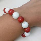 Коралл белый и красный красивый браслет красный коралл натуральный белый губчатый  коралл, фото 5