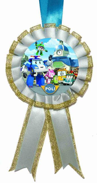 """Медаль детская """"Робокар Поли"""". Диаметр с бантом: 85 мм."""