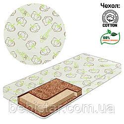 Детский матрас белый ORGANIC пенополиуретан, кокосовый мат  Чехол 100% хлопок