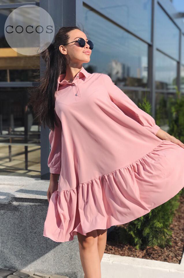 Расклешенное платье с рубашечным воротничком / 4 цвета арт 6403-524