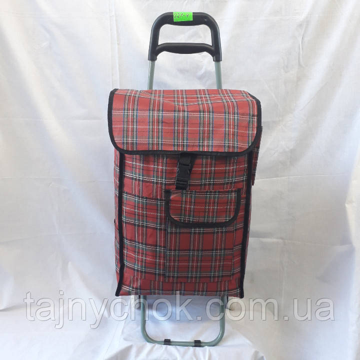 Хозяйственная сумка тачка на колесах в клетку