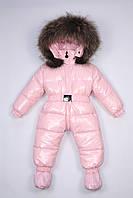Moncler розовый пуховый комбинезон