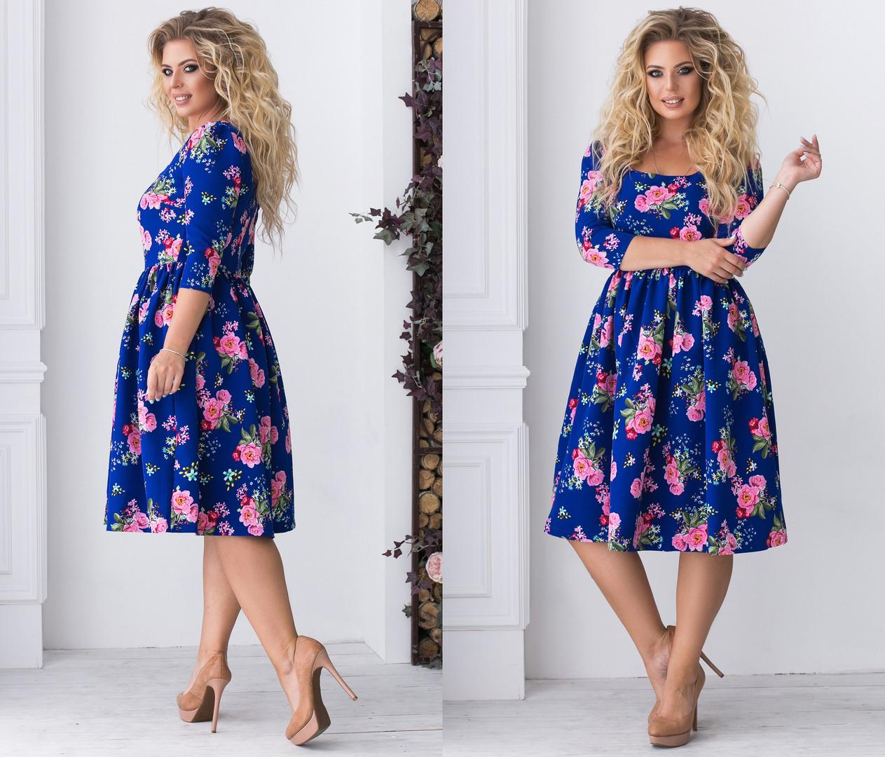 """Платье    """"Алиса""""  больших размеров : 48,50,52,54  с расклешенной юбкой цветочным принтом код  93/8961"""