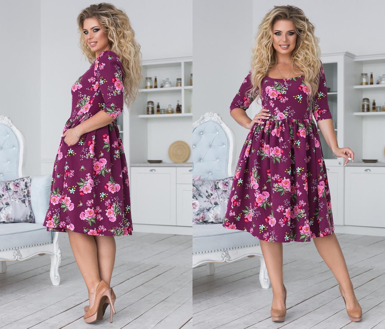 """Платье    """"Алиса""""  больших размеров : 48,50,52,54  с расклешенной юбкой цветочным принтом код  93/8962"""