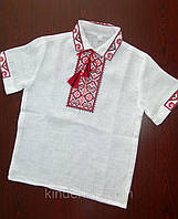 Вышиванка для мальчика на льне Короткий рукав, фото 1