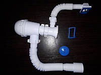 Сифон M 02 Мойка Евро с перелив.нерж.3*1/2 (15) с гибк.трубк., фото 1
