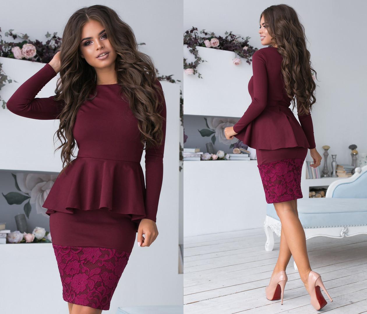 Платье с баской с кружевом на юбке код  93/8968
