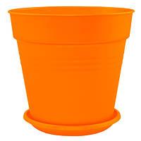 Горшок цветочный Алеана Глория с подставкой 18.5x18 см оранжевый N10922770