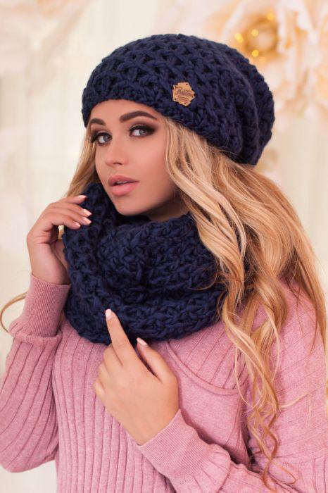 Зимний женский комплект «Марена» (шапка и шарф-снуд)
