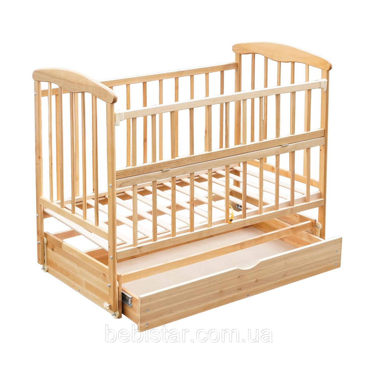 Детская кроватка с маятниковым механизмом, шуфлядкой и откидным бортиком Ольха Светлая