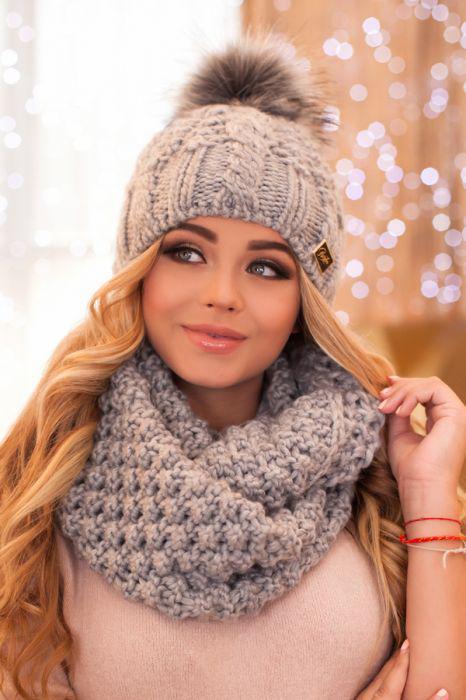 Зимний женский комплект «Сара» (шапка и шарф-снуд) Пудра Светло-серый