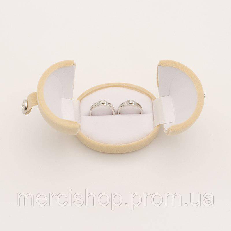 Бархатная коробочка для 2-х колец на свадьбу/церемонию/роспись (беж)