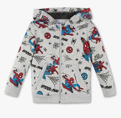 Серая кофта на молнии для мальчика с Человеком Пауком C&A Германия Размер 116