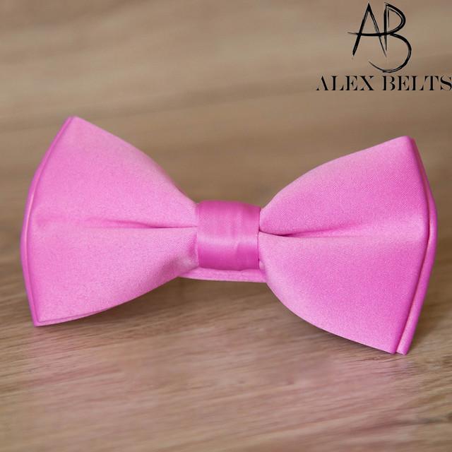 Бабочка мужская однотонная из сатина, цвет: розовый. Оптом в Одессе 7 км