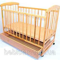Детская кроватка с качалкой, шуфлядкой Ольха Светлая