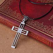 Крест из нержавеющей стали на шнурочке