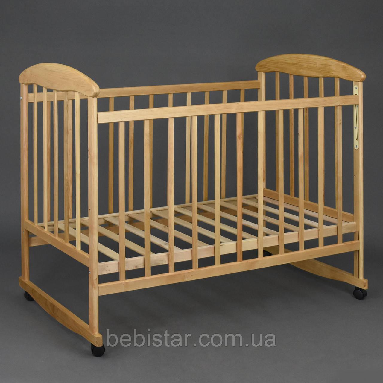 Деревянная детская кроватка с качалкой на колесах деревянные ламели Ольха Светлая