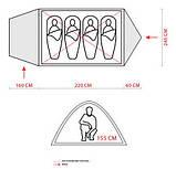 Палатка туристична 4-х місцева GreenCamp 1009-2 два входи 440x245x155 см, фото 6