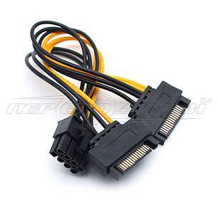 Переходник кабель 8(2+6) pin to 2x SATA питание, фото 2