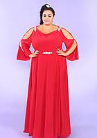 Красное вечернее платье батал 54-72р