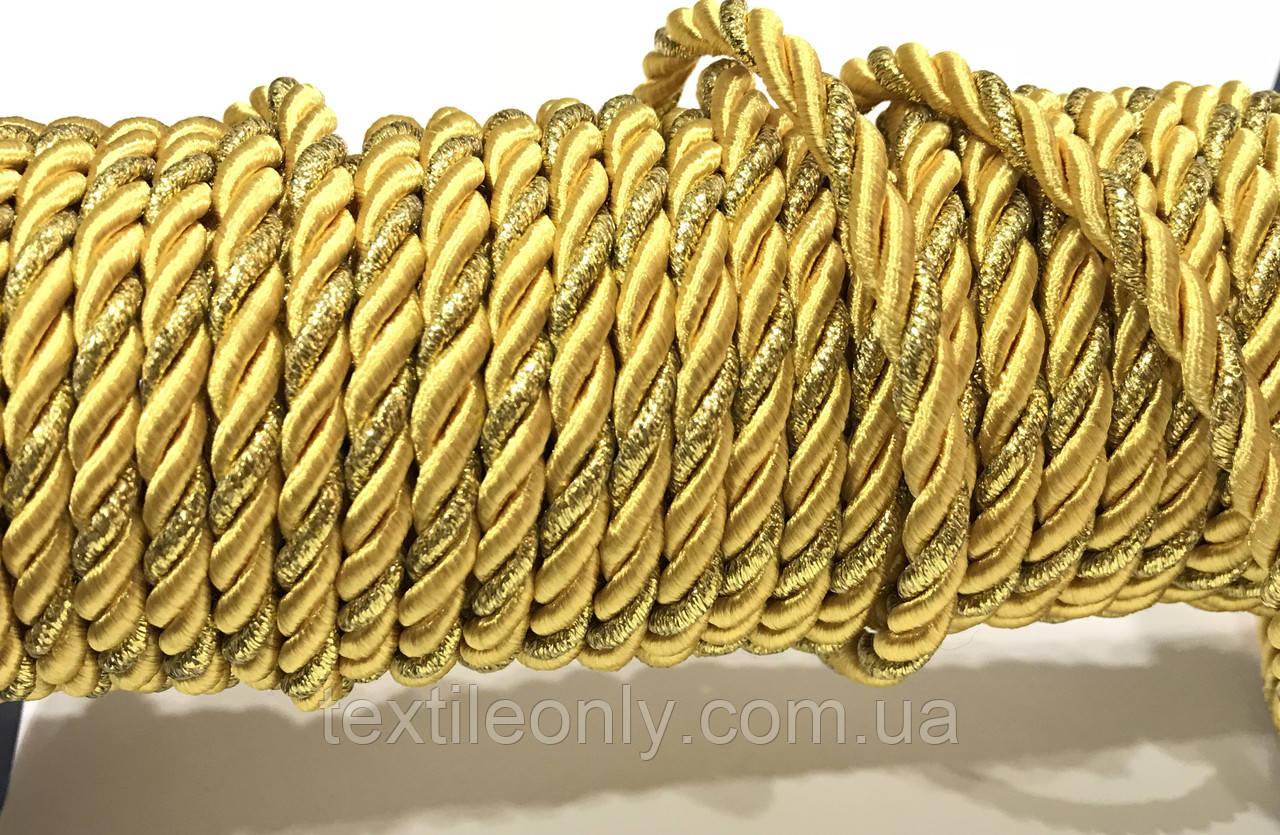 Шнур канат декор витой цвет золото 5 мм