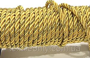 Шнур канат декор витой цвет золото 5 мм, фото 2