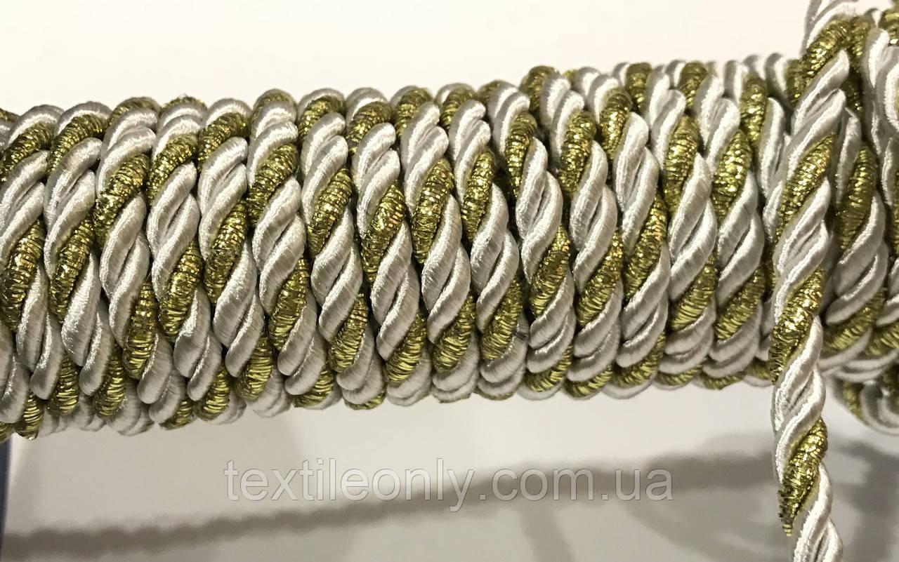 Шнур канат декор витой цвет серебро с золотом 5 мм