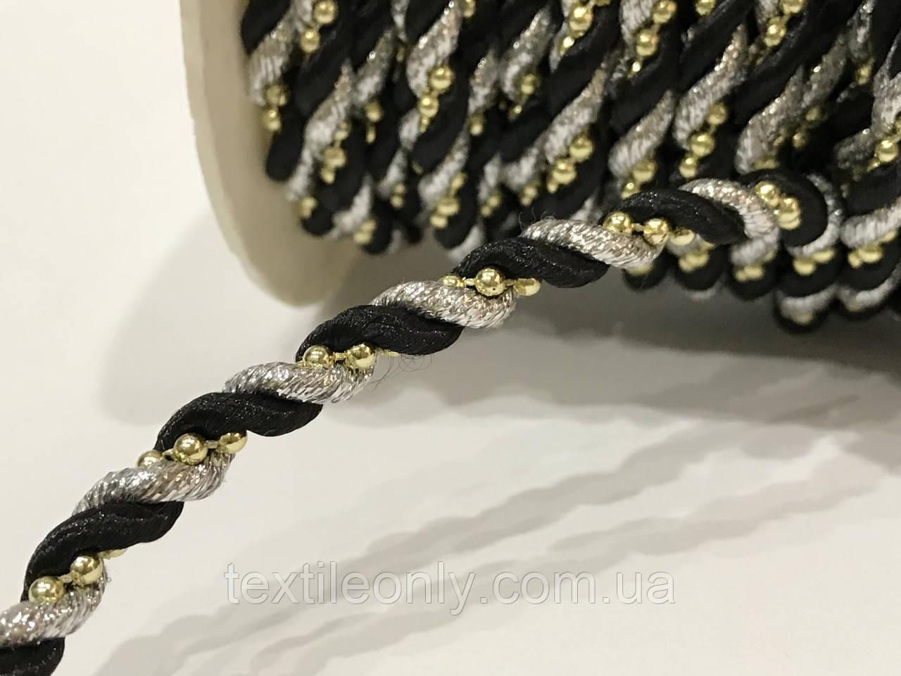 Шнур канат декор витой с бусинами 5 мм