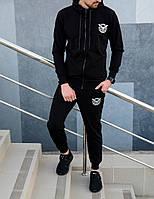 Мужской зимнийcпортивный костюм черный