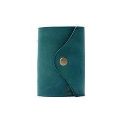 """Кардхолдер """"Case"""". Держатель из натуральной кожи для карт и визиток. Зелёный цвет"""