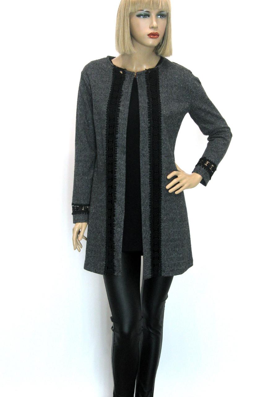 жіночий кардиган пальто з мережевом