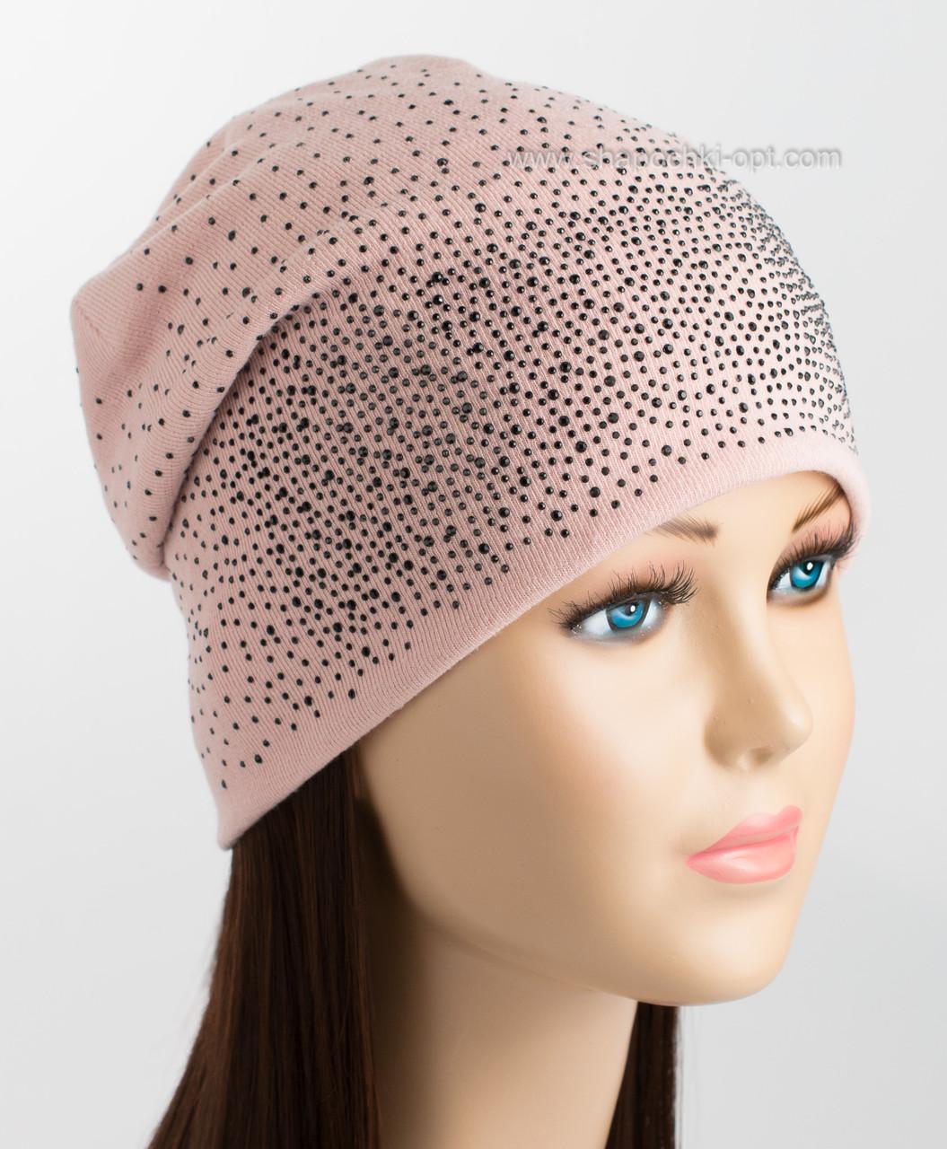 5cbbaa45b429 Демисезонная женская шапка с черными стразами Снег пудра-персик: продажа,  цена в ...