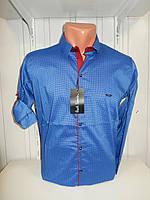 Рубашка мужская Paul Smith длинный рукав, мелкий узор,  №12.08.2018  стрейч 009 \ купить рубашку